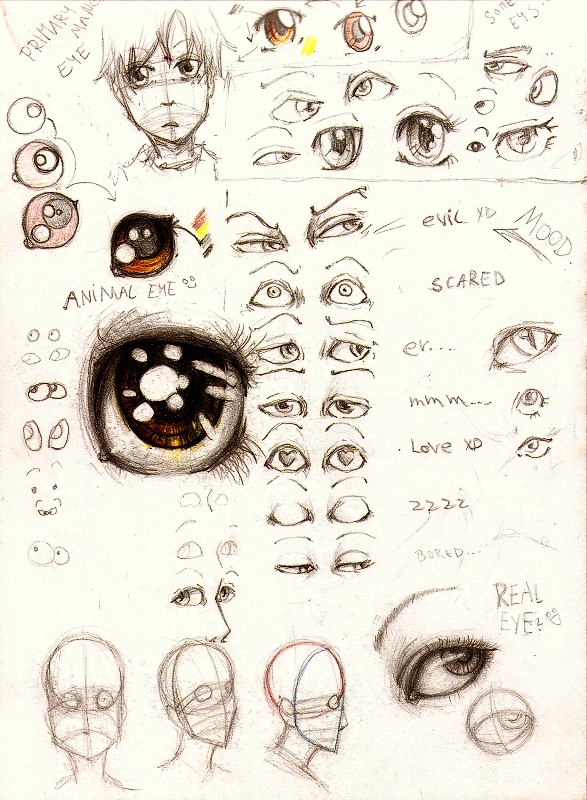 Draw your anime eyes in different ways and different forms