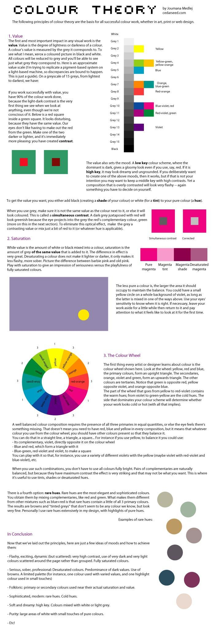 This are the following principles of  colour  theory that  are basis for all succesful  colour work. Value the degree of lightness and darkness of a colour, Saturation and the color […]