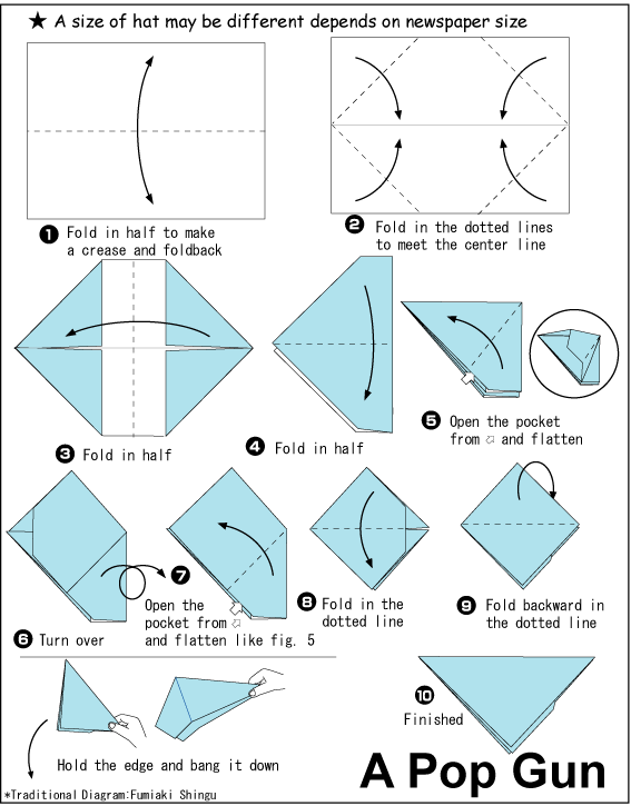 Origami pop gun steps. Fold the half, fold the dotted lines so simple just follow the image for instructions.