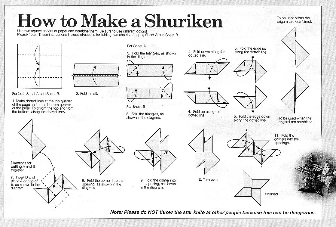 Want to be a ninja? Try this easy shuriken origami from a simple paper